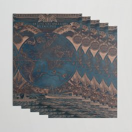 Rose gold and cobalt blue antique world map with sail ships Wrapping Paper