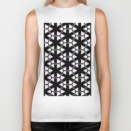 Multi Pattern Black and White Design Biker Tank
