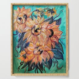 Sunflowers on a Teal and Blue Background Serving Tray