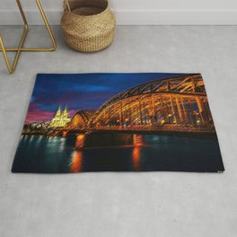 That Night on the River Rhine in Cologne by Jeanpaul Ferro Rug