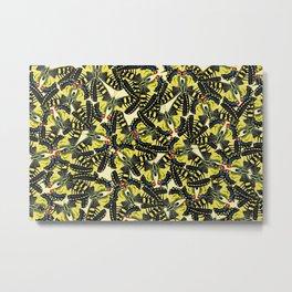 Tiger Swallowtail Butterfly pattern Design - yellow Metal Print