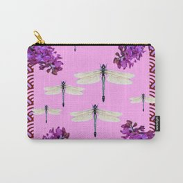 SPRING DRAGONFLIES PURPLE-PINK FLOWERS GARDEN ART Carry-All Pouch