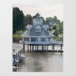 Building on a lake Poster