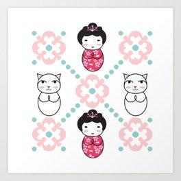 Kokeshi & Lucky Cat Art Print