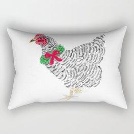 Christmas Barred Rock Hen Rectangular Pillow