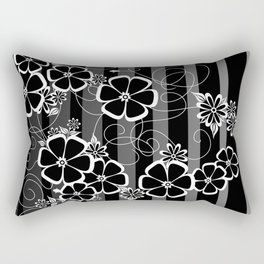 Abstract white and black flowers with background Rectangular Pillow