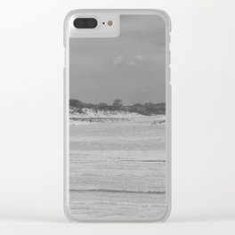 Dunes of Assateague Island (black and white) Clear iPhone Case