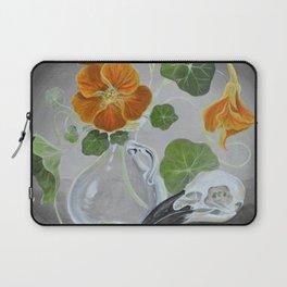 Stilllife with Tropaeolum majus, bird skull and a glass vase Laptop Sleeve