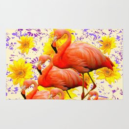 MODERN CREAM-YELLOW ART FLAMINGO  FLORAL PURPLE  ABSTRAC Rug