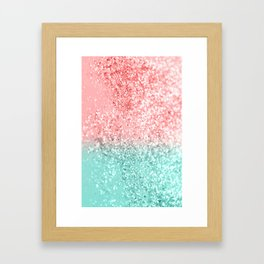 Summer Vibes Glitter #3 #coral #mint #shiny #decor #art #society6 Framed Art Print