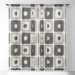 Mid Century Modern Square Dot Pattern 771 Black and Gray Sheer Curtain