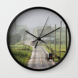 Amish Buggy confronts the Modern World Wall Clock