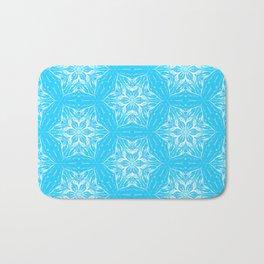 White Snowflakes stars ornament on Blue Bath Mat