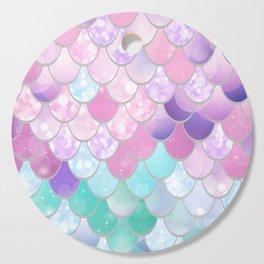 Mermaid Sweet Dreams, Pastel, Pink, Purple, Teal Cutting Board