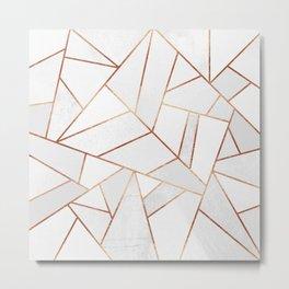 White Stone & Copper Lines Metal Print
