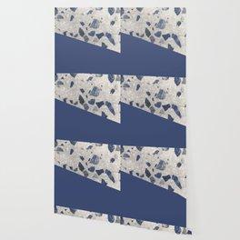 Terrazzo Texture Dark Blue #2 Wallpaper