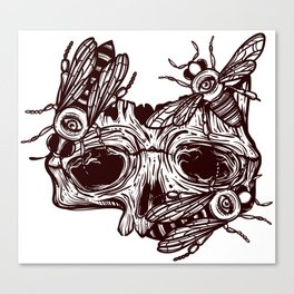 skull and wasps. horseman of the Apocalypse Canvas Print