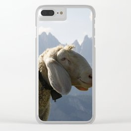 Sheep Before South Tyrol Mountains Clear iPhone Case