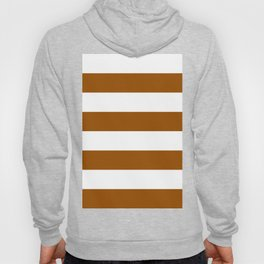 Wide Horizontal Stripes - White and Brown Hoody