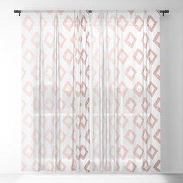 Rose Gold On White Foil Paint Line Dots Stripes Design XI Sheer Curtain