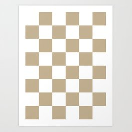 Large Checkered - White and Khaki Brown Art Print