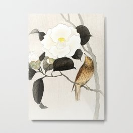 Nightingale on a flowering Camellia - Japanese vintage woodblock print art Metal Print