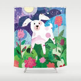 White and Lavender Dog Shower Curtain