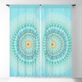 Turquoise Gold Boho Mandala Blackout Curtain