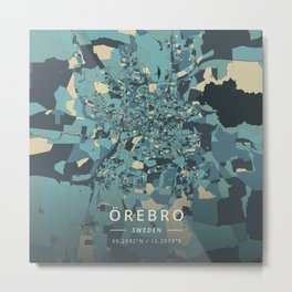 Orebro, Sweden - Cream Blue Metal Print