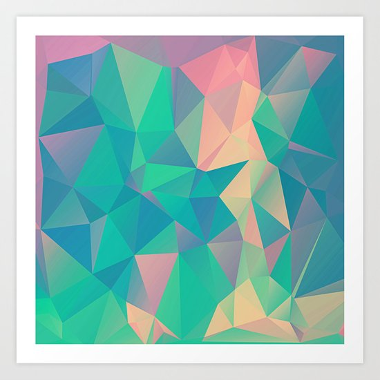 Fractured, Colorful Triangles Geometric Shapes Art Print