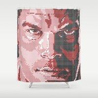 dexter Shower Curtains featuring Dexter Tiles by James Brunner
