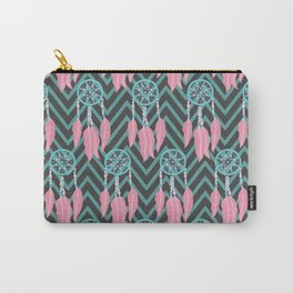 Bohemian Teal Pink Dreamcatcher Chevron Pattern Carry-All Pouch