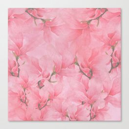 Blush pink green watercolor orchids flowers  Canvas Print