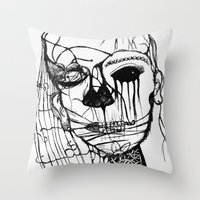 psycho Throw Pillows featuring ~psycho by alexisdarkness