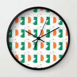 flag of ireland 3-ireland,eire,airlann,irish,gaelic,eriu,celtic,dublin,belfast,joyce,beckett Wall Clock