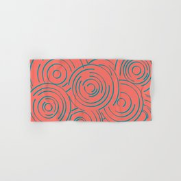 Living Coral and Turquoise Circular Design Hand & Bath Towel