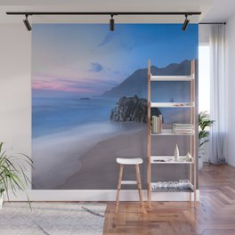 Ocean Tides - Mist Rolls in At Sunset in Big Sur Wall Mural