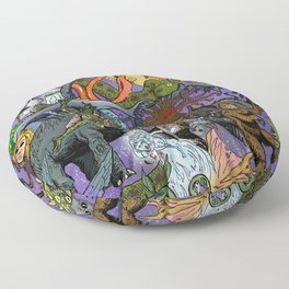 Cryptid Creatures and Mysterious Monsters Floor Pillow