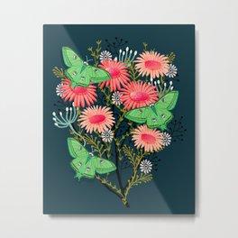 Luna Moth Florals by Andrea Lauren  Metal Print