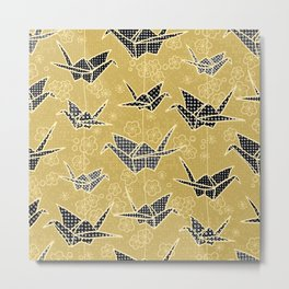 Black and Gold Japanese Origami Cranes Metal Print