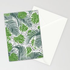 Green tropical leaves on terrazzo pattern Stationery Cards