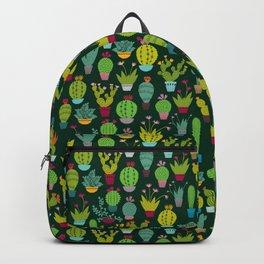 Dark cactus pattern Backpack