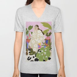 Hanging out with plants Unisex V-Neck