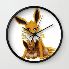 Jolteon and Eevee Pup Wall Clock