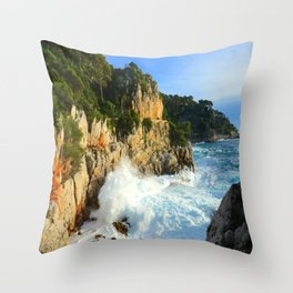 Winter Storm at Cap Ferrat Throw Pillow