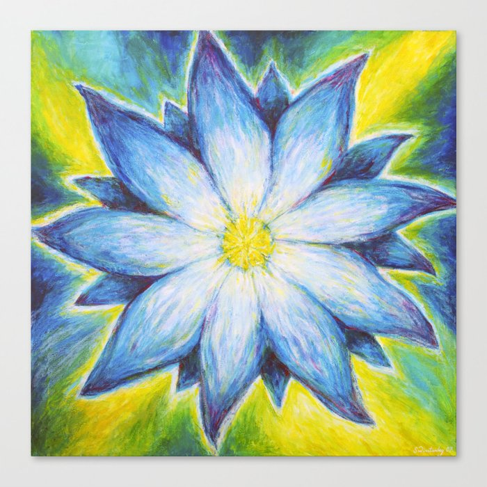 Blue Lotus Opening - The Awakening (Third Eye Chakra) Canvas Print