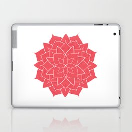 Mandala flower, coral geometrical floral pattern Laptop & iPad Skin