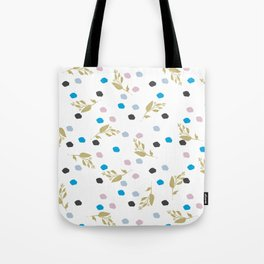 Chic gold glitter pink black blue brushstrokes floral Tote Bag