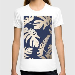 Simply Palm Leaves in White Gold Sands on Nautical Navy T-shirt