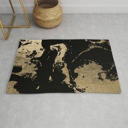 Elegant faux gold foil black chic marble pattern Rug